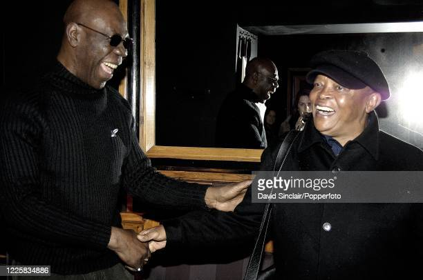 Cameroonian musician Manu Dibango posed on left with South African trumpeter Hugh Masekela at Blakes Hotel in London on 25th March 2006