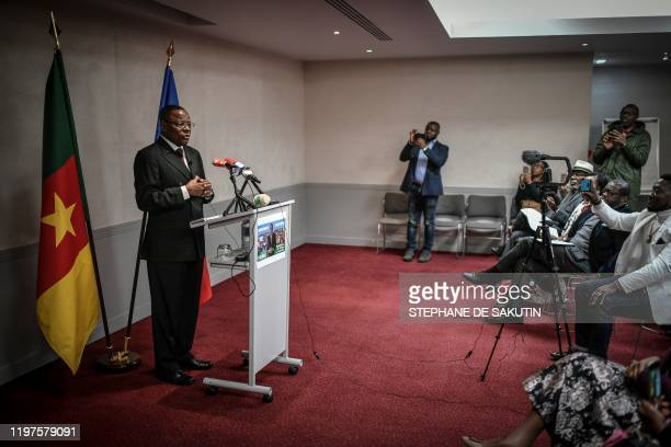 Cameroonian opposition leader of Movement for the Rebirth of Cameroon and former presidential candidate Maurice Kamto gives a press conference on...
