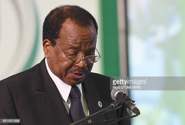 Cameroonian President Paul Biya speaks during the regional security summit on Boko Haram threat to African security in Abuja on May 14 2016 Regional...