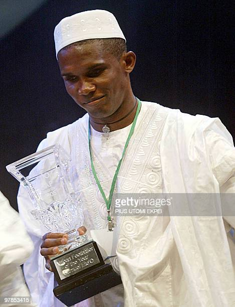 Cameroonian Samuel Eto'o leaves the podium 16 February 2006 after being presented with the African footballer of the year award at the International...