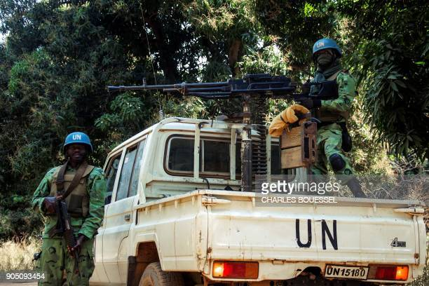 Cameroonian soldiers with the UN mission in the Central African Republic guard the site during an UN inspection in the northwesten village of Bedaya...