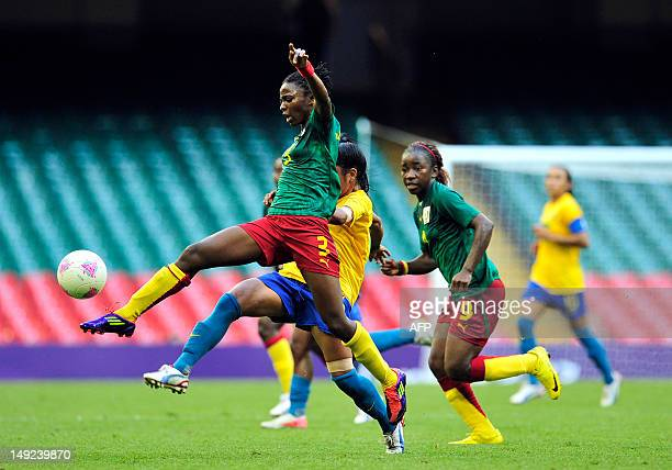 Cameroonian striker Ajara Nchout controls the ball during the London 2012 Olympic games Women's football match between Cameroon and Brazil at the...