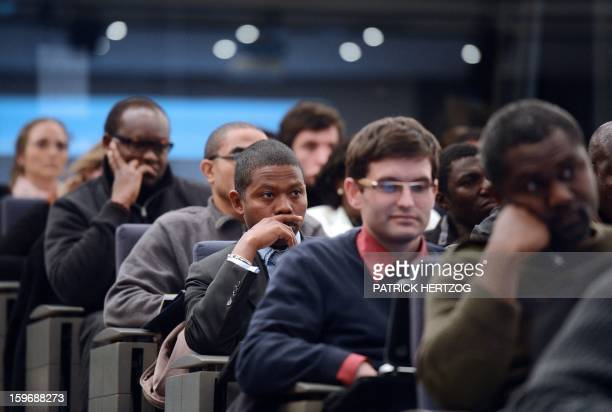 SIMON Cameroonian student Felix Nkou Songue attends a conference at the Ecole Nationale d'Administration on January 14 2013 in Strasbourg eastern...