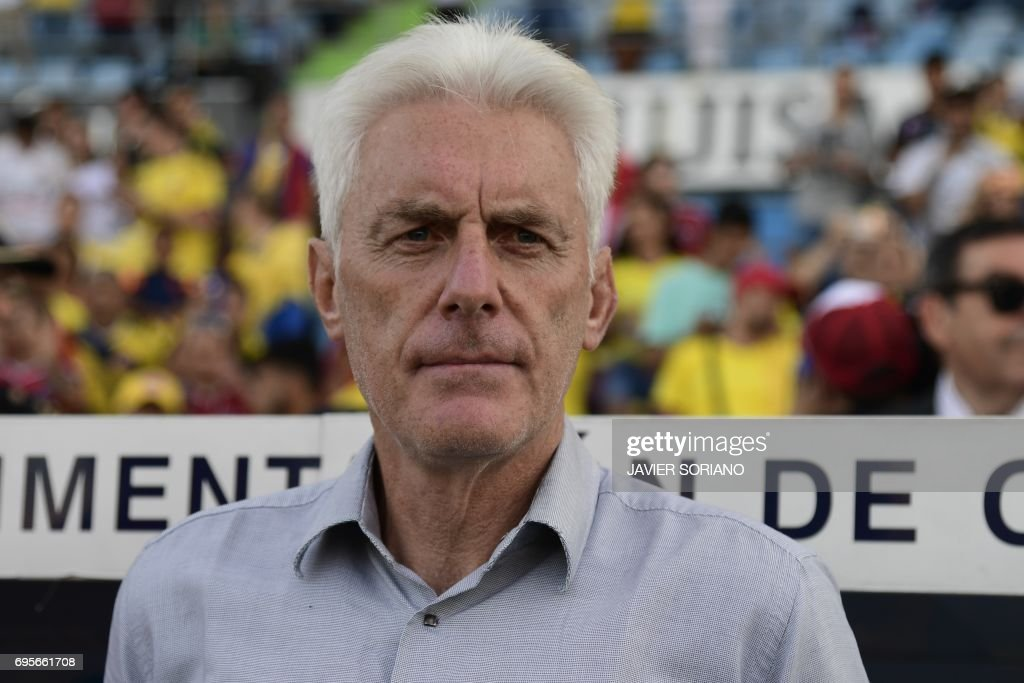 Cameroon's Belgian coach Hugo Broos looks on before the friendly football match Cameroon vs Colombia at the Col. Alfonso Perez stadium in Getafe on June 13, 2017. /