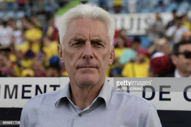 Cameroon's Belgian coach Hugo Broos looks on before the friendly football match Cameroon vs Colombia at the Col Alfonso Perez stadium in Getafe on...