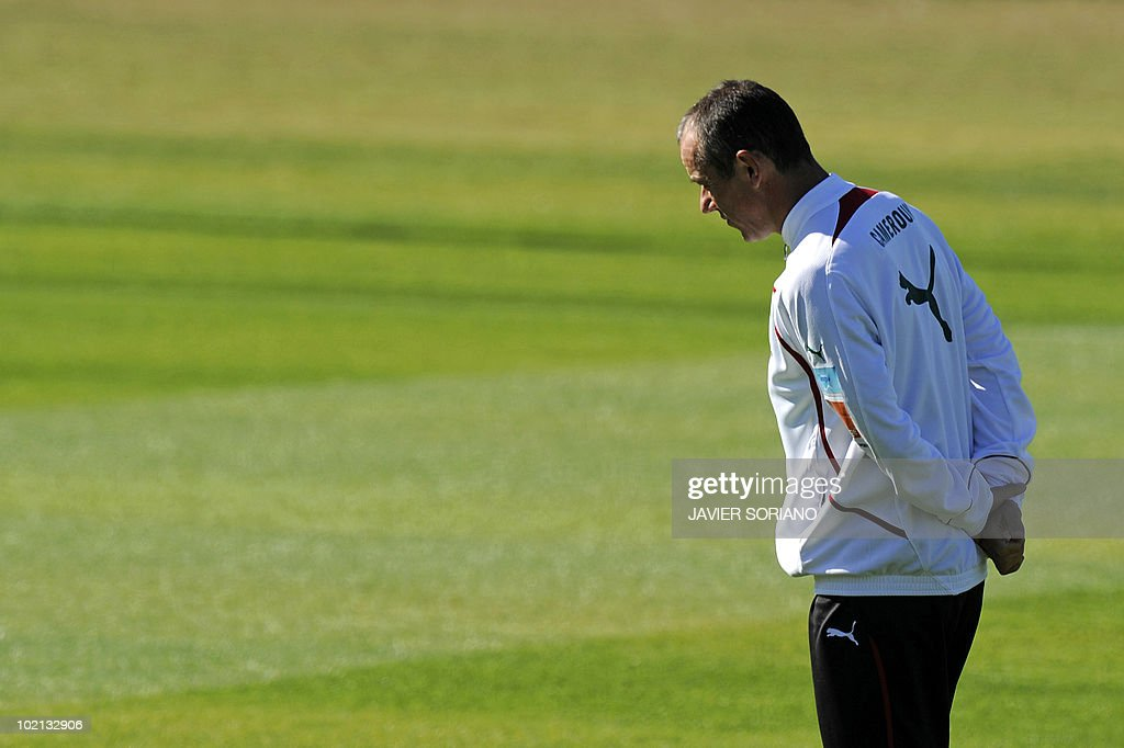 Cameroon's coach Paul Le Guen takes part in a training session at Northlands School in Durban, on June 16, 2010. Cameroon's star striker Samuel Eto'o said on June 14 that the Group E clash against Denmark was a must-win game after the African side slipped to a 1-0 defeat against Japan.