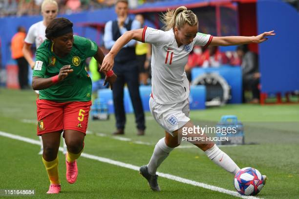 Cameroon's defender Augustine Ejangue vies with England's forward Toni Duggan during the France 2019 Women's World Cup round of sixteen football...