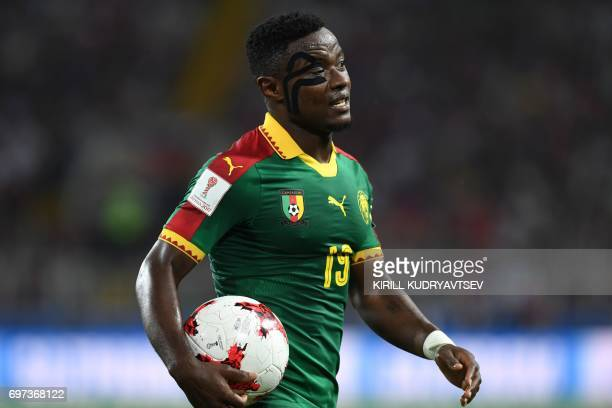 Cameroon's defender Collins Fai holds the ball during the 2017 Confederations Cup group B football match between Cameroon and Chile at the Spartak...