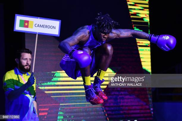 TOPSHOT Cameroon's Dieudonne Wilfried Seyi Ntsengue prepares to fight India's Vikas Krishan during their men's 75kg final boxing match during the...