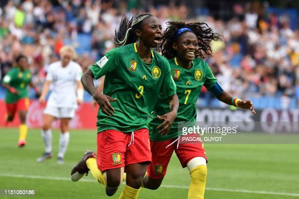 Cameroon's forward Ajara Nchout celebrates after scoring her second goal during the France 2019 Women's World Cup Group E football match between...