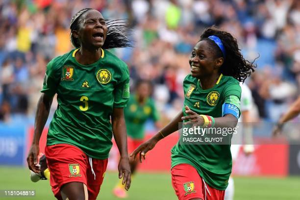 TOPSHOT Cameroon's forward Ajara Nchout celebrates with Cameroon's forward Gabrielle Onguene after scoring her second goal during the France 2019...