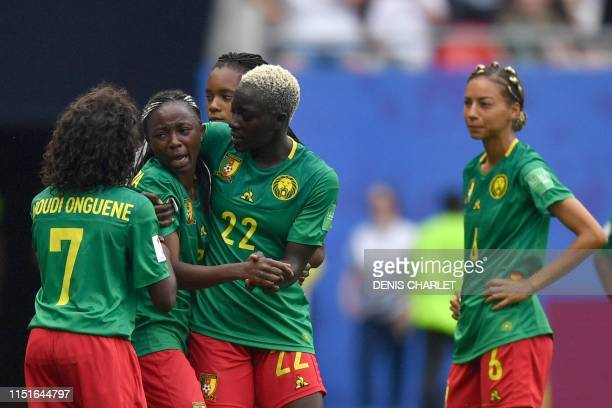 Cameroon's forward Ajara Nchout reacts after her goal was disallowed during the France 2019 Women's World Cup round of sixteen football match between...