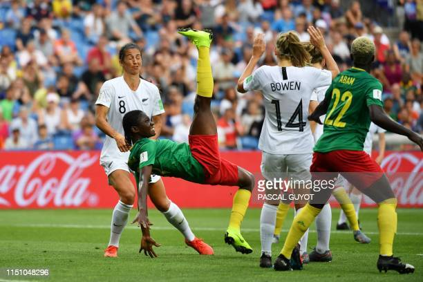 TOPSHOT Cameroon's forward Alexandra Takounda kicks the ball during the France 2019 Women's World Cup Group E football match between Cameroon and New...