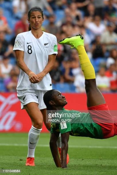 TOPSHOT Cameroon's forward Alexandra Takounda kicks the ball next to New Zealand's defender Abby Erceg during the France 2019 Women's World Cup Group...