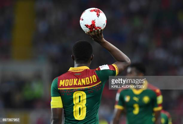 Cameroon's forward Benjamin Moukandjo holds the ball during the 2017 Confederations Cup group B football match between Cameroon and Chile at the...