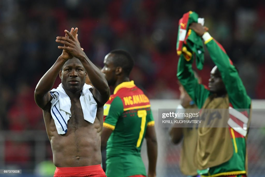 Cameroon's forward Christian Bassogog acknowledges supporters at the end of the 2017 Confederations Cup group B football match between Cameroon and Chile at the Spartak Stadium in Moscow on June 18, 2017. / AFP PHOTO / Kirill KUDRYAVTSEV