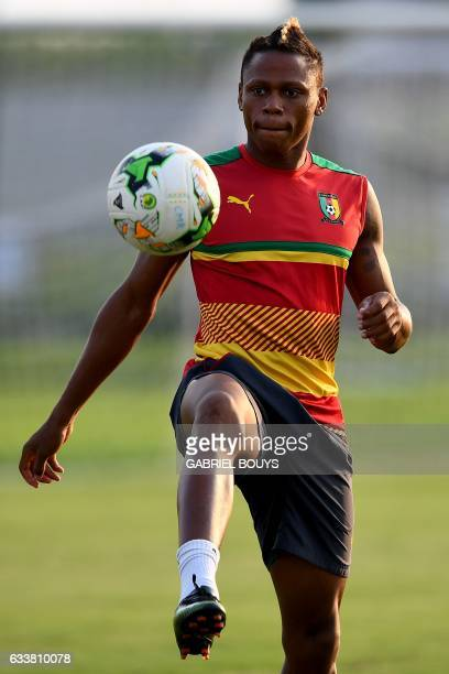 Cameroon's forward Clinton Njie controls the ball during a training session in Libreville on February 4 2017 on the eve of the final of the 2017...