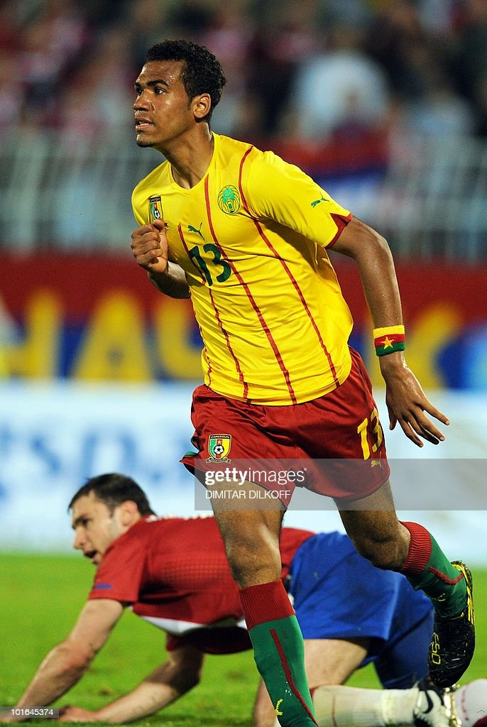 Cameroon's forward Eric Choupo Moting celebrates his goal against Serbia during their friendly at Partizan stadium in Belgrade on June 5, 2010 ahead of the FIFA 2010 World Cup in South Africa.