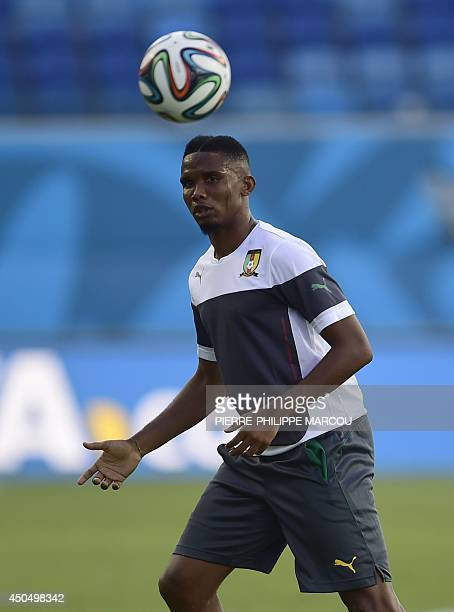Cameroon's forward Samuel Eto'o plays the ball during a training session at the Das Dunas stadium in Natal on June 12 2014 on the eve of their 2014...