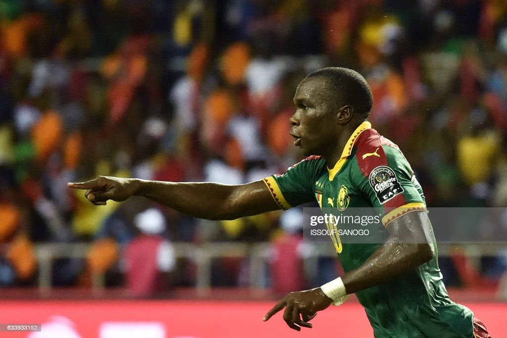 Cameroon's forward Vincent Aboubakar celebrates after scoring the team's second goal during the 2017 Africa Cup of Nations final football match between Egypt and Cameroon at the Stade de l'Amitie Sino-Gabonaise in Libreville on February 5, 2017. / AFP / ISSOUF