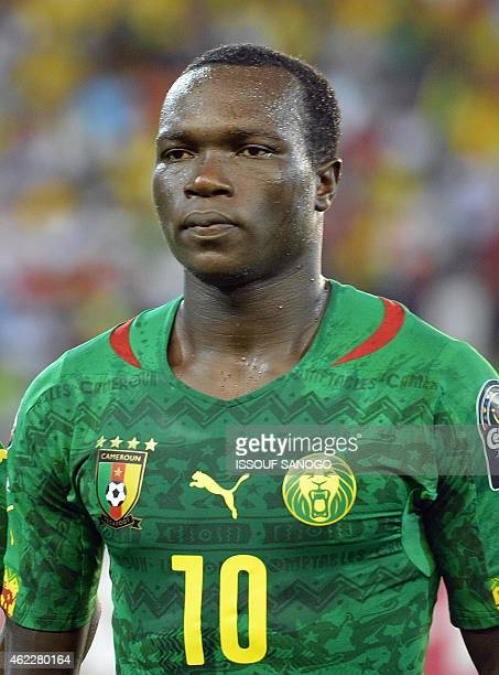 Cameroon's forward Vincent Aboubakar poses ahead of the 2015 African Cup of Nations group D football match between Cameroon and Guinea in Malabo on...