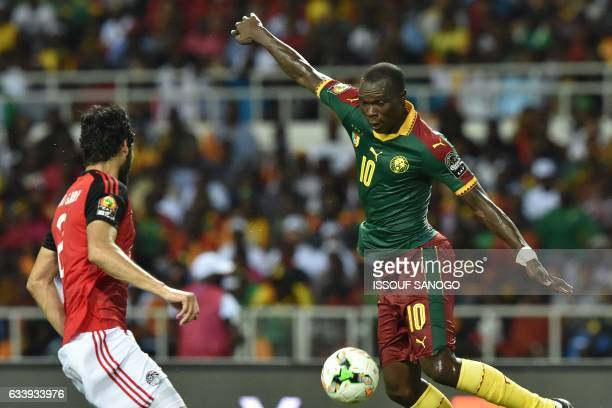 Cameroon's forward Vincent Aboubakar vies for the ball with Egypt's defender Ali Gabr during the 2017 Africa Cup of Nations final football match...