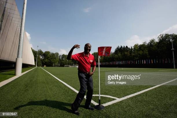 Cameroon's legendary striker Roger Milla attends the global launch for the CocaCola sponsorship of the 2010 FIFA World Cup at FIFA headquarters on...