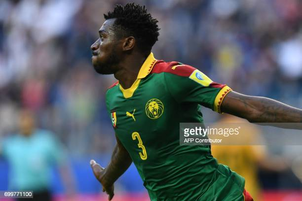 TOPSHOT Cameroon's midfielder Andre Zambo celebrates after scoring a goal during the 2017 Confederations Cup group B football match between Cameroon...