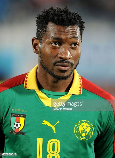 Cameroon's midfielder André-Frank Zambo Anguissa looks on during a friendly football match between Tunisia and Cameroon on March 24, 2017 at the Ben...