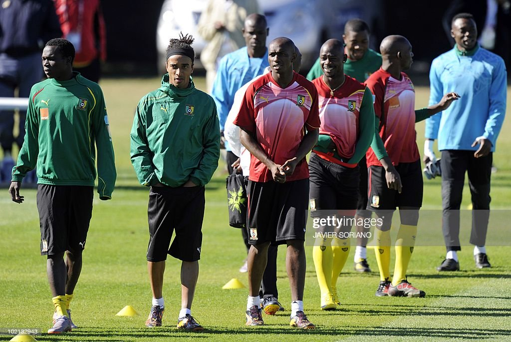 Cameroon's national football players get ready for a training session at Northlands School in Durban on June 16, 2010. Cameroon will place against Denmark in the second opening round Group E match on June 19 in the 2010 World Cup football tournament.