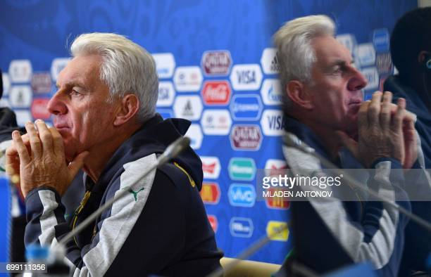 Cameroon's national football team head coach Hugo Broos answers questions during a press conference at the Krestovsky Stadium in StPetersburg on the...