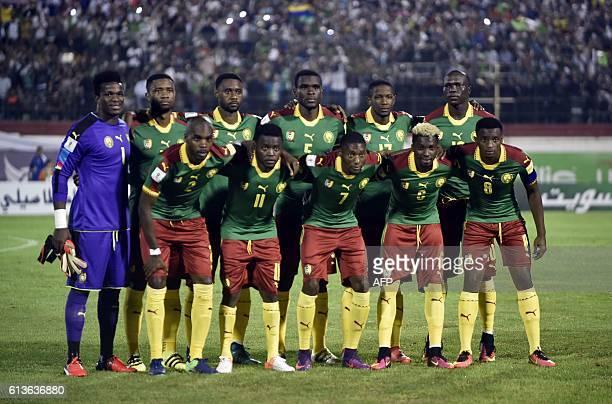 Cameroon's national football team players Allan Nyom Edgar Salli Karl Toko Ekambi Nicolas Nkoulou and Benjamin Moukandjo Fabrice Ondoa Aurelien...