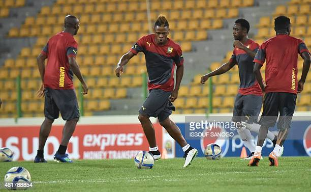 Cameroon's national football team's player Clinton Ndjie takes part in a training session on January 19 2015 in Malabo stadium on the eve of the...