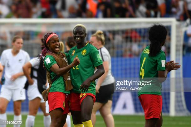 Cameroon's players celebrate after winning the France 2019 Women's World Cup Group E football match between Cameroon and New Zealand on June 20 at...