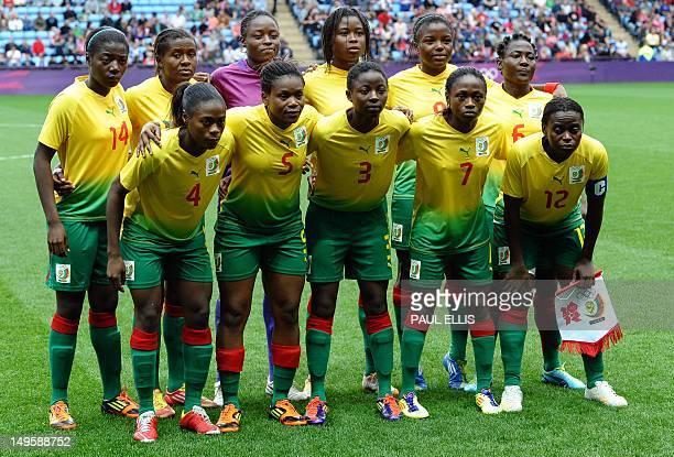 Cameroon's players defender Bibi Medoua defender Ysis Sonkeng goalkeeper Annette Ngo Ndom forward Adrienne Iven forward Raissa Feudjio and midfielder...