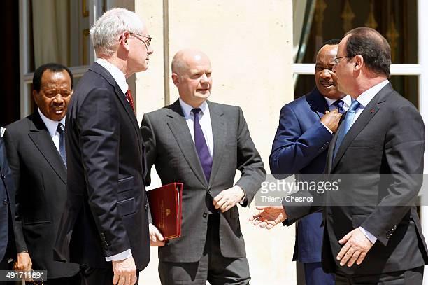 Cameroon's president Paul Biya, European Council president Herman Van Rompuy, Britain's Foreign Secretary William Hague, Niger's president Mahamadou...