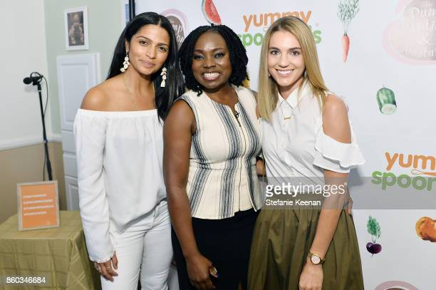 Camila Alves Agatha Achindu and Karalyn Holden attend First Foods 101/Yummy Spoonfuls at Pump Station Nurtury on October 11 2017 in Los Angeles...