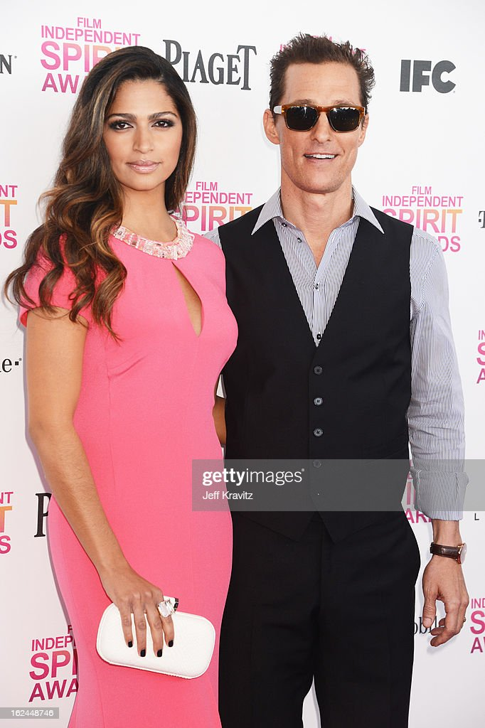 Camila Alves and actor Matthew McConaughey attend the 2013 Film Independent Spirit Awards at Santa Monica Beach on February 23, 2013 in Santa Monica, California.