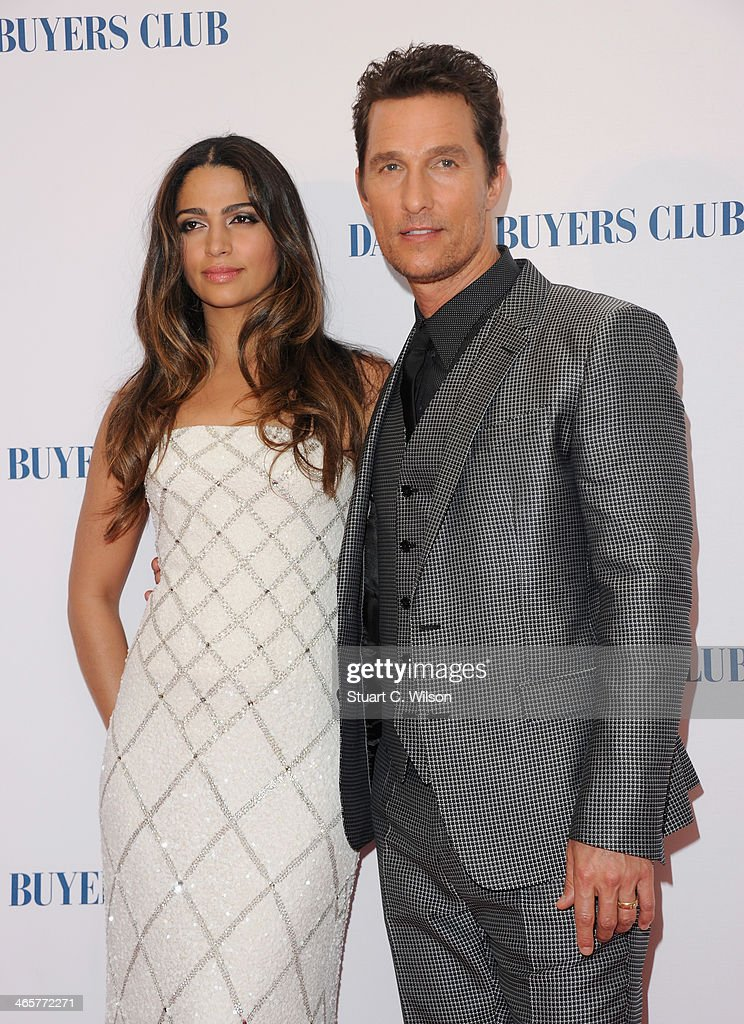 Camila Alves and actor Matthew McConaughey attend the 'Dallas Buyers Club' UK Premiere at the Curzon Mayfair on January 29, 2014 in London, England.