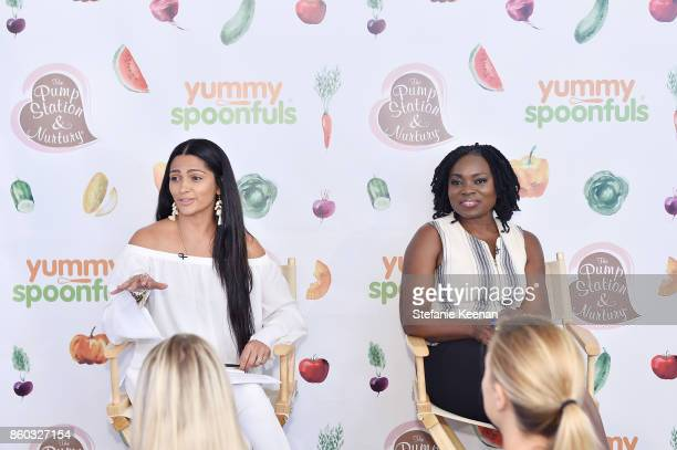 Camila Alves and Agatha Achindu attend First Foods 101/Yummy Spoonfuls at Pump Station Nurtury on October 11 2017 in Los Angeles California