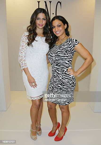Camila Alves and Beauty Editor for Cosmo Latina Milly Almodovar make an appearance at Macys Aventura on March 16 2013 in Miami Florida