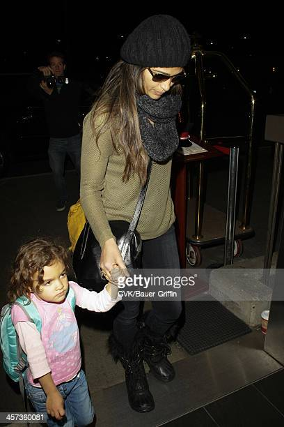Camila Alves and her childre, Vida Alves McConaughey and Levi Alves McConaughey are seen arriving at LAX airport on December 16, 2013 in Los Angeles,...