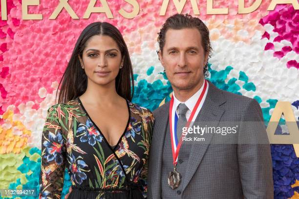Camila Alves and honoree Matthew McConaughey attend the 2019 Texas Medal Of Arts Awards at the Long Center for the Performing Arts on February 27...