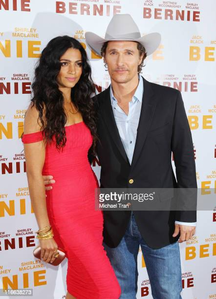 Camila Alves and Matthew McConaughey arrive at the Bernie premiere during the 2011 Los Angeles Film Festival held at Regal Cinemas LA Live on June 16...