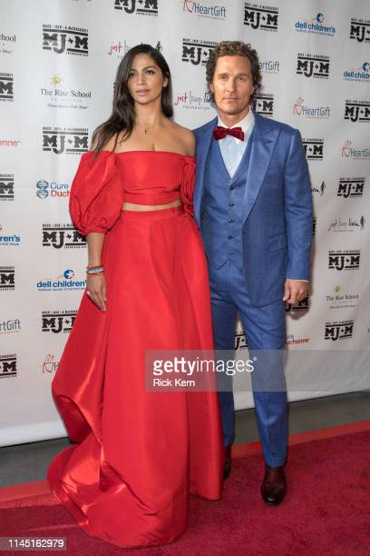 Camila Alves and Matthew McConaughey arrive at the Mack Jack McConaughey charity gala at ACL Live on April 25 2019 in Austin Texas