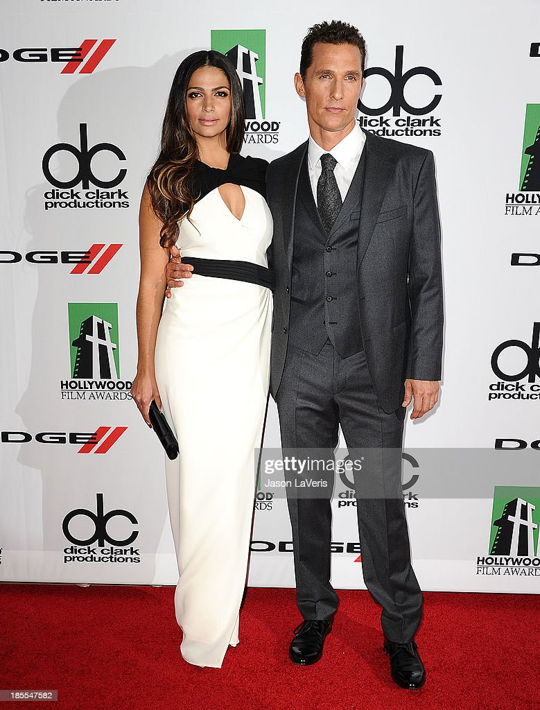 Camila Alves and Matthew McConaughey attend the 17th annual Hollywood Film Awards at The Beverly Hilton Hotel on October 21, 2013 in Beverly Hills, California.