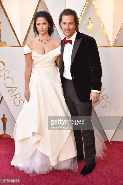 Camila Alves and Matthew McConaughey attend the 90th Annual Academy Awards at Hollywood & Highland Center on March 4, 2018 in Hollywood, California.
