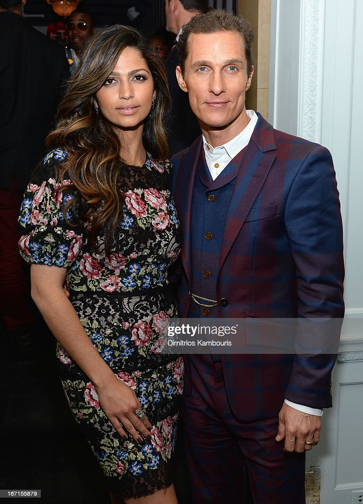 Camila Alves and Matthew McConaughey attend the after party for The Cinema Society with FIJI Water & Levi's screening of 'Mud' at Harlow on April 21, 2013 in New York City.