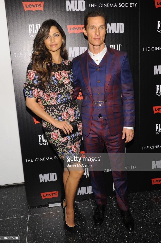 Camila Alves and Matthew McConaughey attend the Cinema Society with FIJI Water & Levi's screening of 'Mud' at The Museum of Modern Art on April 21, 2013 in New York City.