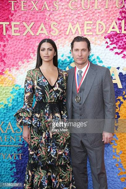 Camila Alves and Matthew McConaughey attend the Texas Medal Of Arts Awards at the Long Center for the Performing Arts on February 27, 2019 in Austin,...